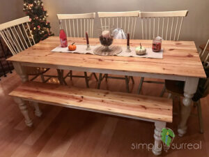 Dining Table Custom Built From Pine Floor Boards