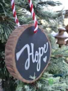 Ornament Tree Slice Hope