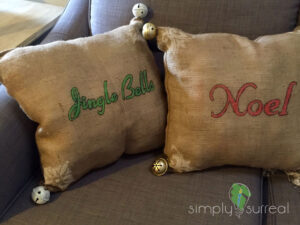 Pillows Burlap & Bells
