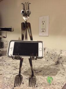 Silverware Sculpture Phone Holder